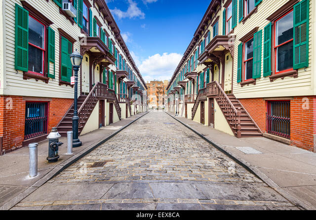 New York City, USA at rowhouses in the Jumel Terrace Historic District. - Stock Image