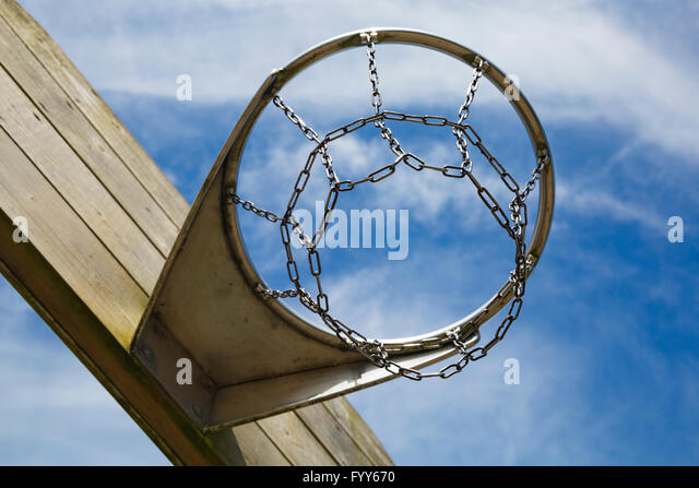 Looking up into basketball or netball hoop - Stock Image