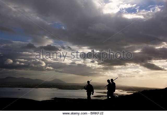 Pilgrims on the sacred mountain of Croagh Patrick - Stock Image