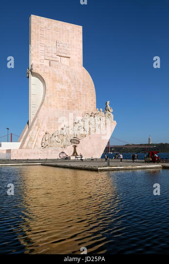 Monument of the Discoveries, Santa Maria de Belem, Lisbon, Portugal. Located along the river where ships departed - Stock Image