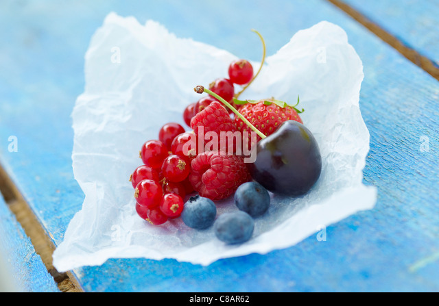 Assorted summer fruit - Stock Image