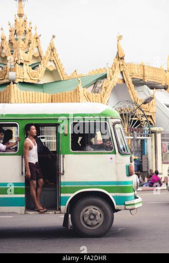 Vintage Buses of Yangon, Myanmar, Burma - Stock Image