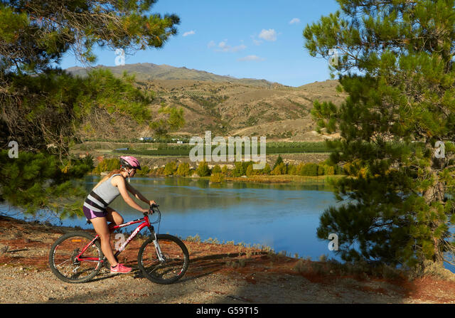 Mountain biker on Cromwell to Bannockburn Lakeside Track, and Lake Dunstan, near Cromwell, Central Otago, South - Stock Image