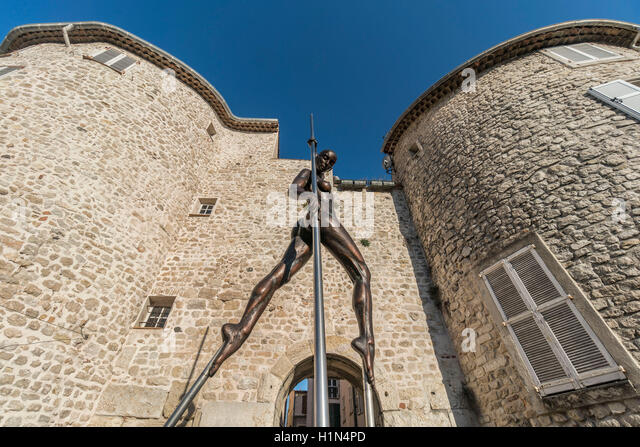 Sculpture by Nicolas Lavarenne , Portail de  l'Orme,  Antibes, Old City Center near Picasso Museum, Cote d Azur, - Stock Image