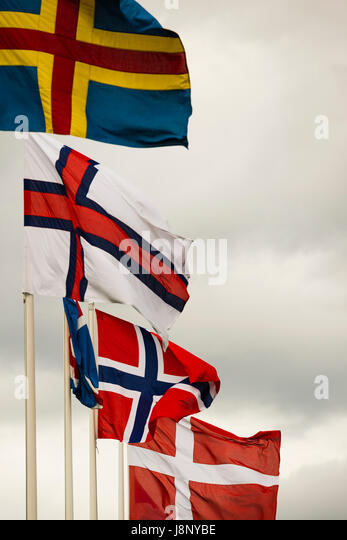 Flags on windy day - Stock-Bilder