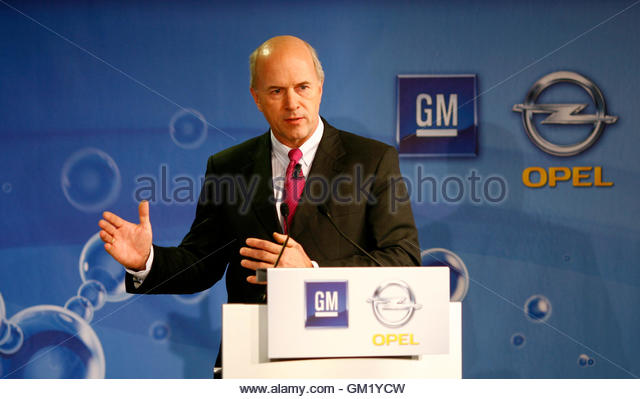 General Motors Vice President and President of GM Europe Carl-Peter Forster attends a news conference during the - Stock Image