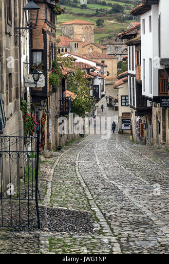 Santillana del Mar an historic town situated in Cantabria in northern Spain. It has many historic buildings. - Stock Image