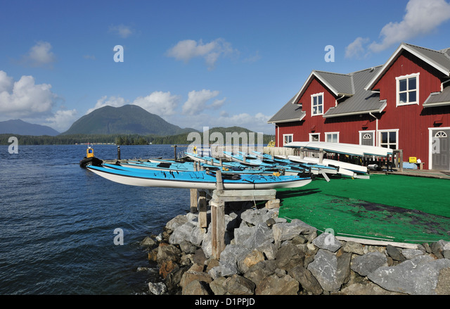 Kayaks for hire, Tofino, Vancouver Island, British Columbia, Canada - Stock Image