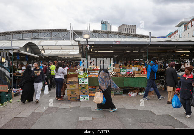 multicultural Birmingham outdoor market UK - Stock-Bilder