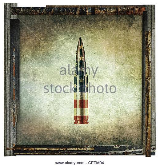 american bullet print - Stock Image
