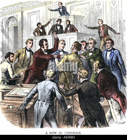 Fistfight between Congressmen who disagree early 1800s - Stock Image