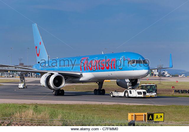 A Thomson fly.com airplane, England - Stock Image