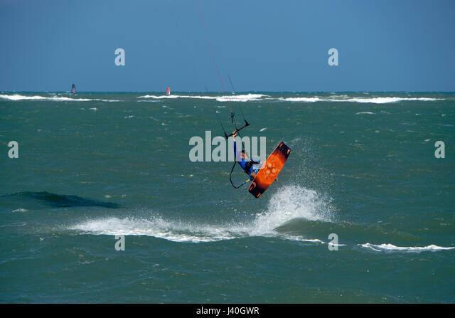 Kiteboaders, Kite surfing, Cabarete beach, North Coast, Dominican Republic - Stock Image