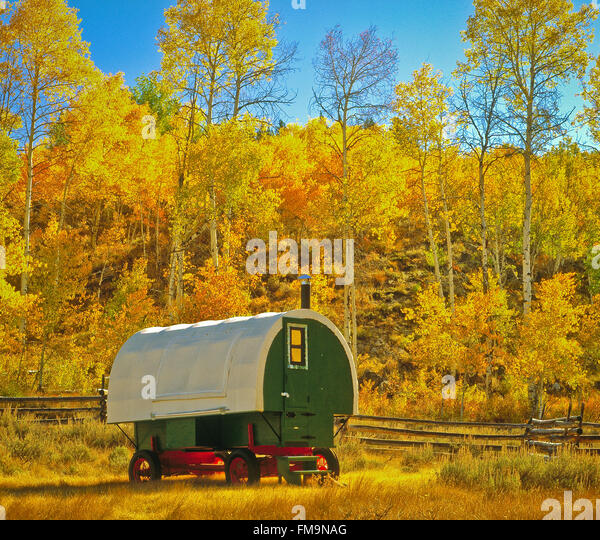 Autumn view of a Basque  Sheep headers Wagon nestled in ApenTrees, Sawtooth National Recreation Area, Idaho, USA - Stock Image