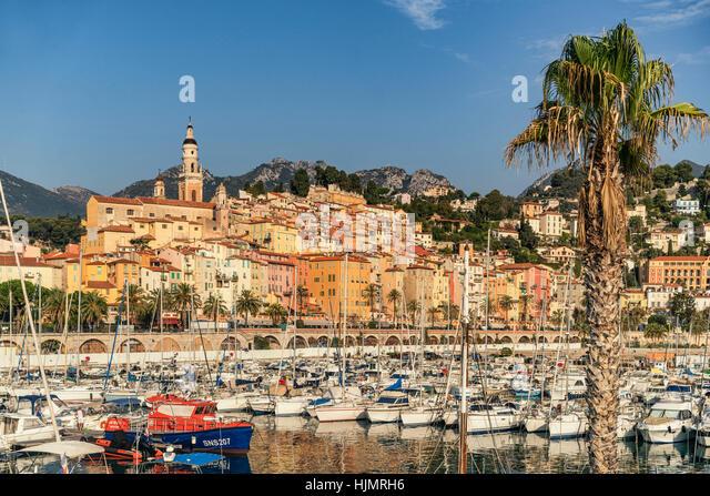 Port of Menton, Cote d Azur, - Stock Image