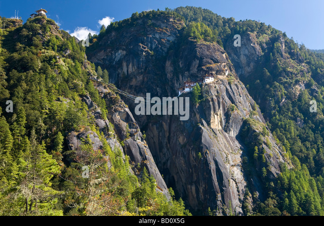Taktsang Dzong monastery or Tigers Nest built in the 8th century Paro Bhutan - Stock-Bilder