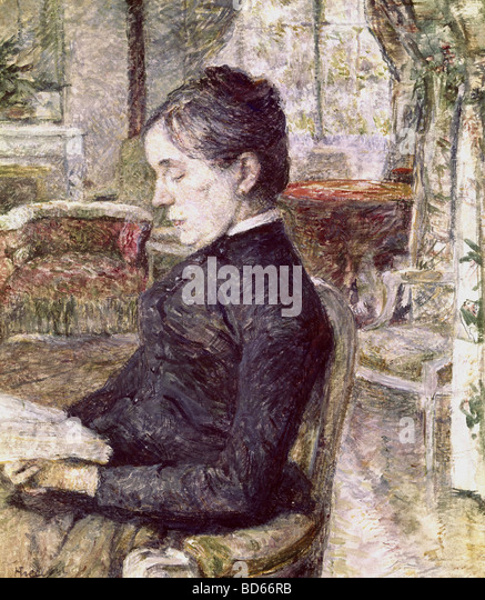fine arts, Toulouse-Lautrec, Henri de (1864 - 1901), painting, portrait of his mother in the parlour of Castle Malrome, - Stock Image