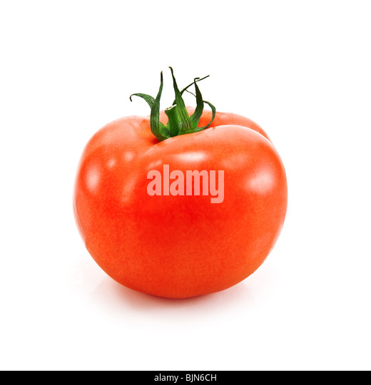 single tomato isolated on white - Stock Image