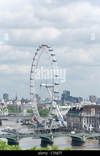 London Skyline from South Bank - Stock Image
