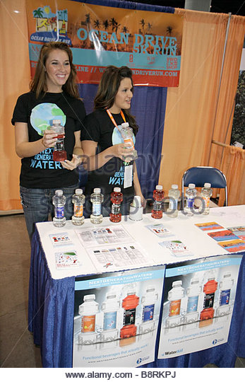 Miami Beach Miami Florida Beach Convention Center Centre Total Health and Fitness Expo exhibitor free sample marketing - Stock Image