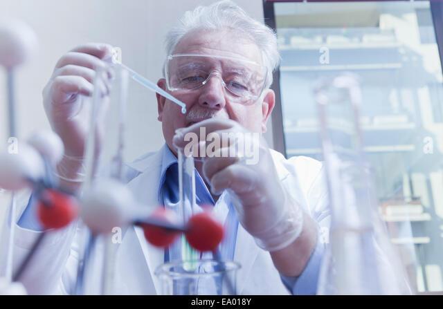 Senior scientist working at laboratory - Stock Image