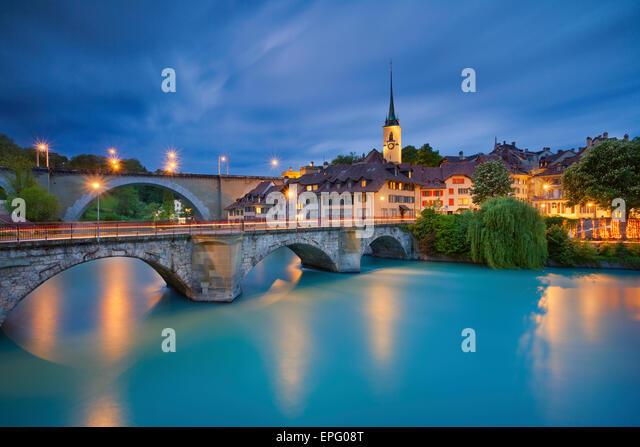 Bern. Image of Bern, capital city of Switzerland, during twilight blue hour. - Stock Image