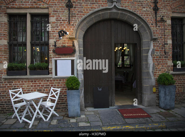 Restaurant in city of Brugge, Belgium - Stock Image