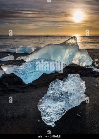 Ice formations from the Jokulsarlon Glacial Lagoon, Breidamerkurjokull Glacier, Vatnajokull Ice Cap, Iceland - Stock Image