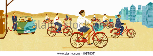 Businessman filling car with petrol contrasted with lots of business people cycling to work - Stock-Bilder