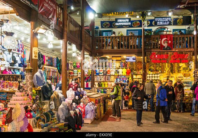 Shopping in the traditional Bazaar or market, Antalya old town, Antalya, Mediterranean Region, Turkey - Stock-Bilder