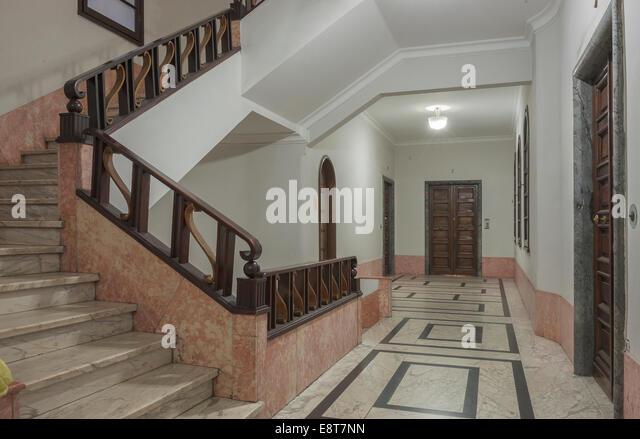 Hallway, interior design of the 30s, architecture in Italian fascism under Mussolini, Piazza della Vittoria, Genoa, - Stock Image
