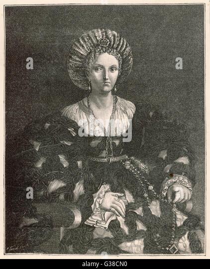 LUCREZIA BORGIA -  Duchess of Ferrara and patron  of the arts and education       Date: 1480 - 1519 - Stock-Bilder