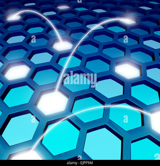 Communication network blue backdrop or global technology background as a social networking symbol with a three dimensional - Stock Image