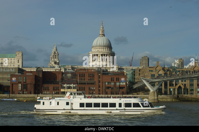 st pauls cathedral  thames pleasure boat  London - Stock Image