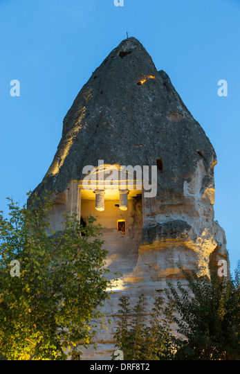 Roman grave in fairy chimney, Goreme, Cappadocia, Turkey - Stock Image