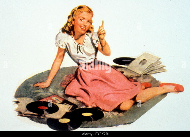 FIFTIES GIRL WITH RECORDS - Stock Image