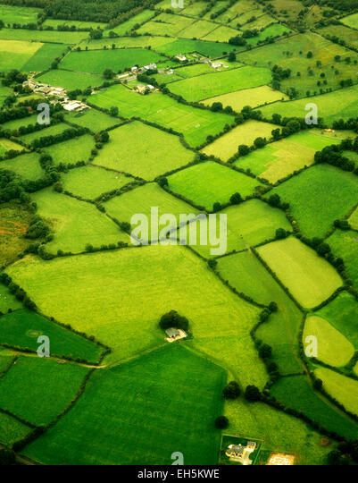 Green pastures as seen from the air. Ireland - Stock Image