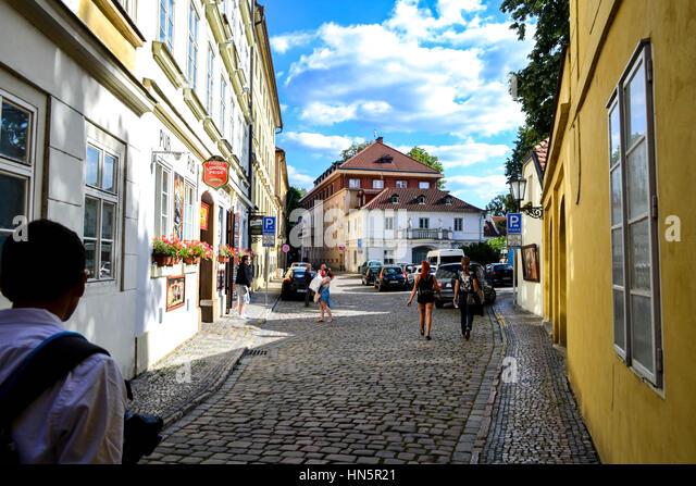 Walking through the streets of Prague - Stock Image