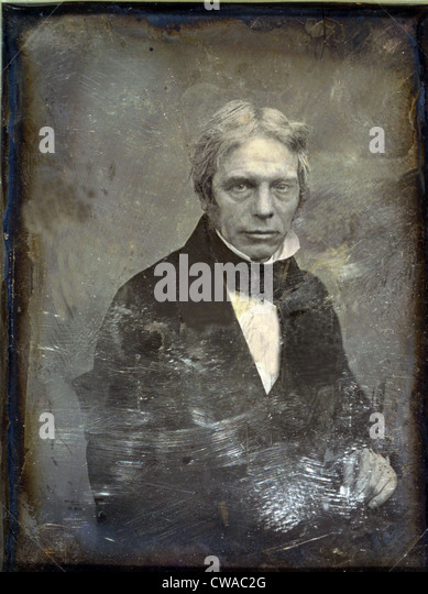 Michael Faraday (1791-1867) English physicist of electromagnetism and inventor of the electric generator. Daguerreotype - Stock Image