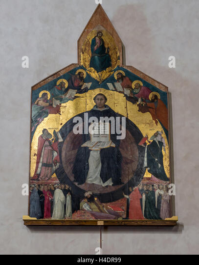 Altarpiece 'Triumph of St Thomas Aquinas' on the wall of the Santa Caterina d'Alessandria church  p - Stock Image
