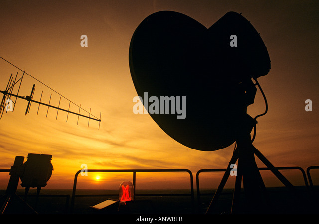 Telecommunications dish on Radio Tower in Prague Czech Republic - Stock-Bilder