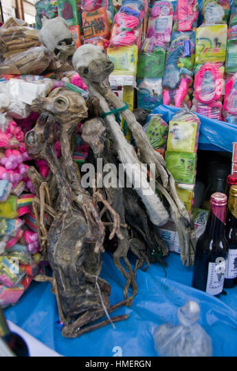 Items on display in a chiflera shop in the Witches Market in La Paz, for use in sacrifices to the Pachamama, mother - Stock Image