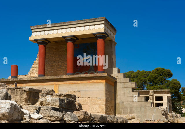 Archaeological excavations of the Minoan palace at Knossos, Heraklion, Crete, Greece, Europe - Stock Image
