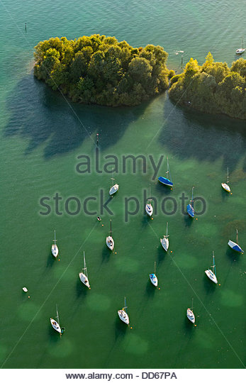 Germany, View of Anchoring sailing boats - Stock Image