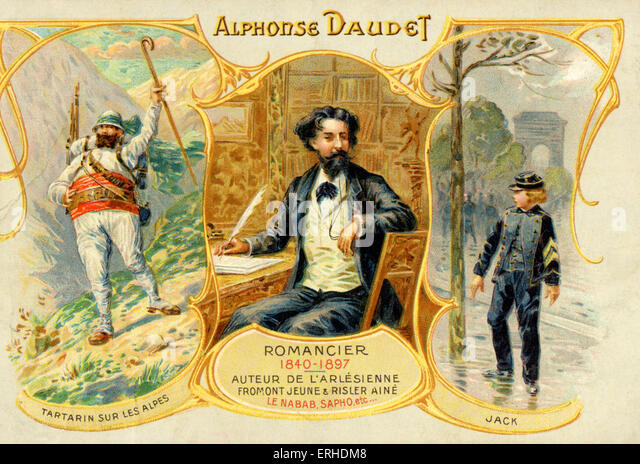 Alphonse Daudet - illustrated portrait showing characters from his works: Tartarin de Tarascon and Jack.  French - Stock Image