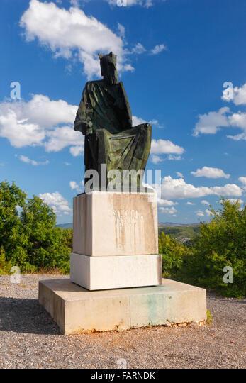 Statue of Croatian King Petar Svacic 1093-1097. Krka National park near Visovac - Stock-Bilder