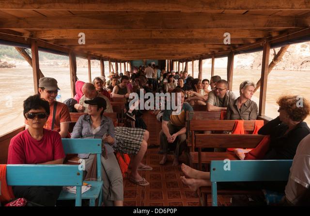 Elk209-1597 Laos, Mekong River, riverboat with passengers - Stock Image