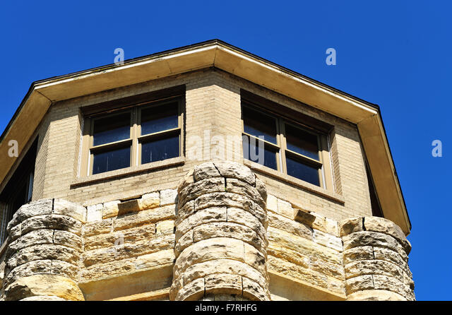 A guard tower at Joliet Correctional Center (also known as Illinois State Penitentiary and Joliet Prison. - Stock Image