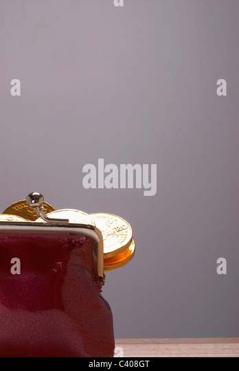 Purse with euros in it - Stock Image