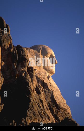 South Dakota Mount Rushmore National Memorial President George Washington stone carving profile early morning - Stock Image